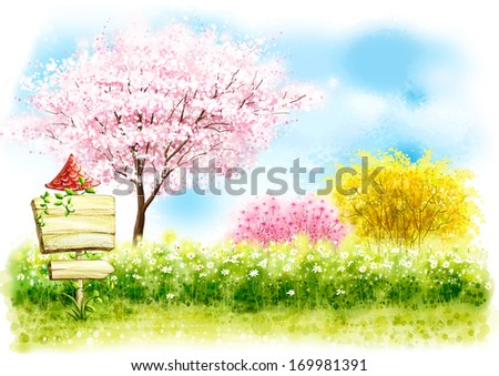 A wooden sign standing in a grassy field with cherry trees blossoming behind it.