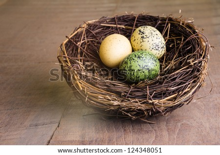 A wooden table with a birds nest and eggs