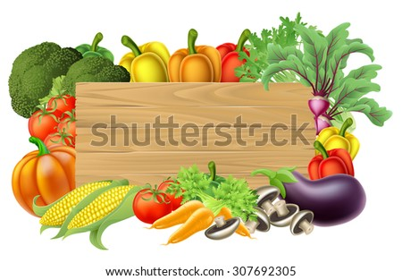 A wooden vegetables sign background surrounded by a border of fresh fruit and vegetables food produce - stock photo