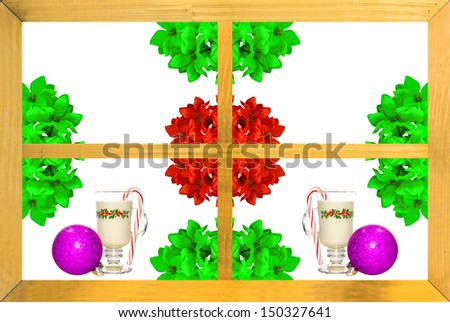 A wooden window frame with poinsettia flowers, eggnog, Christmas ornaments and candy canes celebrating Christmas with copy space and room for text. - stock photo