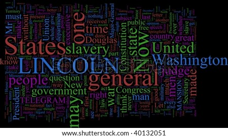 A word cloud based on Abraham Lincoln's writings