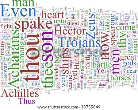 A word cloud based on Homer's Illiad - stock photo