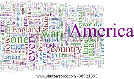 A word cloud based on Paine's American Crisis