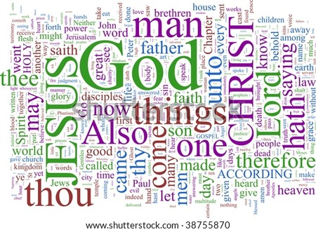 A word cloud based on the New Testament - stock photo