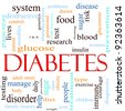 A word cloud concept around the word Diabetes including words such as glucose, pancreas, blood, insulin and more. - stock photo