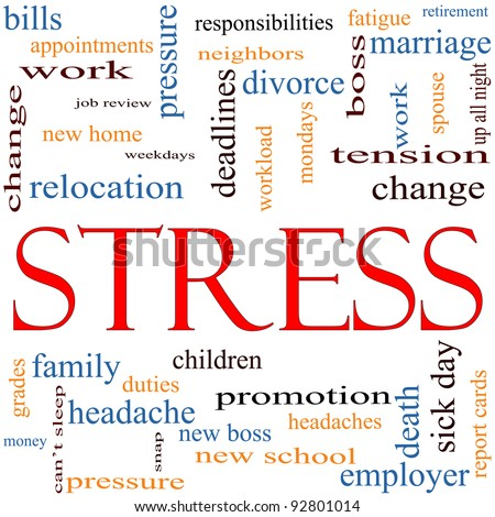 A word cloud concept around the word Stress with great terms such as pressure, deadlines, family, duties, tension, change and more. - stock photo