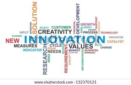 A word cloud of innovation related items - stock photo