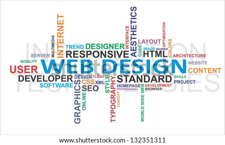 A word cloud of web design related items - stock photo