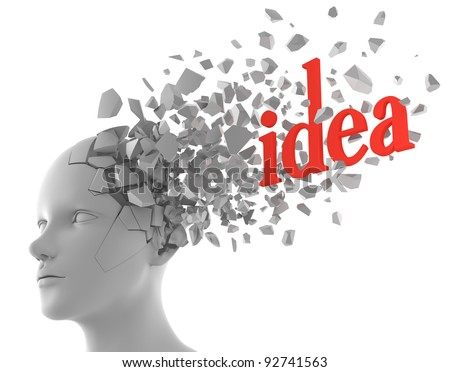 a word of idea coming out from a model of human head - stock photo