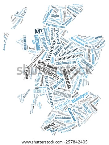 A wordcloud of the country of Scotland made from all of it's cities and towns. - stock photo