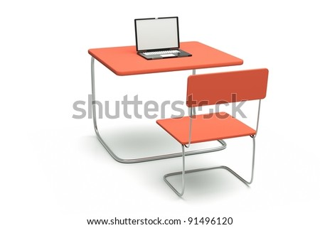 a work place on white, table with chair and laptop isolated on white - stock photo