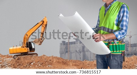 Worker man all tools supplies holding stock photo 736815517 a worker man with all of tools supplies holding construction plan blueprint ready for check and malvernweather Image collections