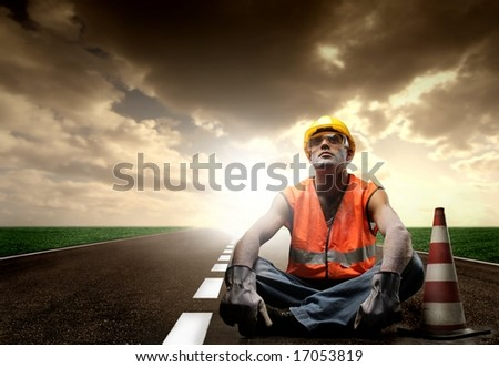 a worker on the street