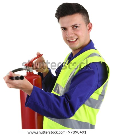A workman with an extinguisher, isolated on white - stock photo