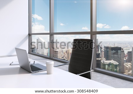 A workplace with laptop and a cap of coffee in a modern panoramic office, New York City view, Manhattan. A concept of financial consulting services. 3D rendering. - stock photo