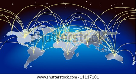 A world map background with flight paths or trade routes - stock photo