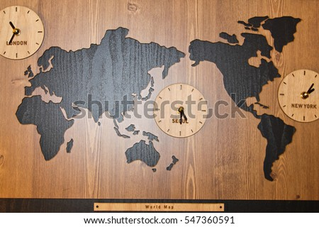 World map international clock on board stock photo download now a world map international clock on the board world map international clock gumiabroncs Images