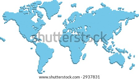 A world map made up of 3d pillars. Raster version - stock photo