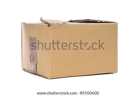 a worn cardboard box on a white background - stock photo