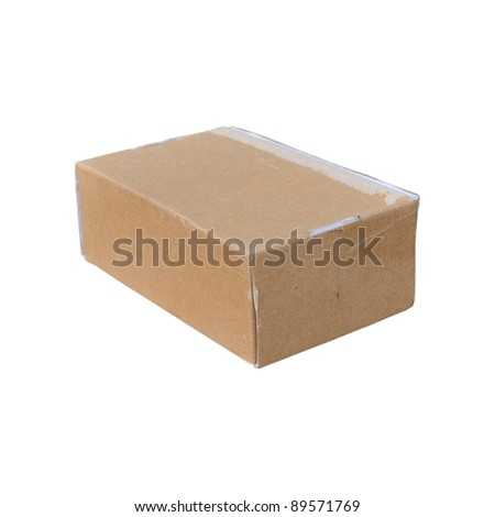 a worn cardboard box on a white background