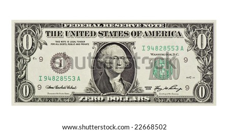 A worthless dollar bill - stock photo