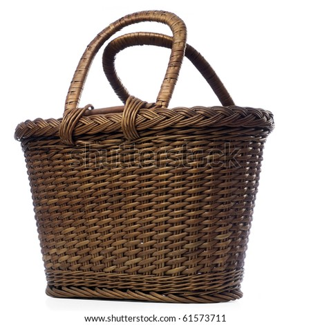 a woven basket isolated on white - stock photo