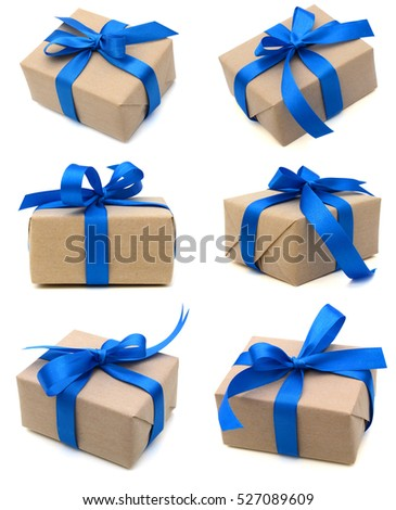 A wrapping gift box with blue ribbon