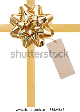 A wrapping greeting gift with tag - stock photo