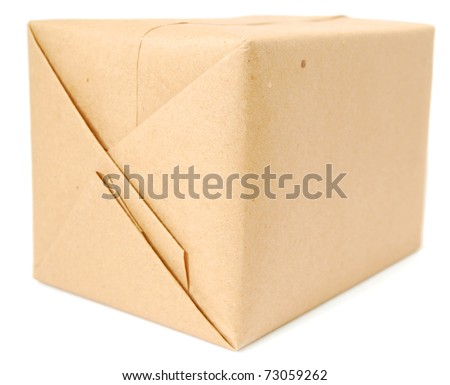 A wrapping parcel box - stock photo