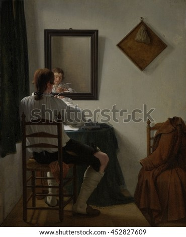 A Writer Trimming his Pen, by Jan Ekels (II), 1784, Dutch painting, oil on panel. A writer cuts his pen in a corner of a small room. Many details are captured: light enters from a curtained window; t