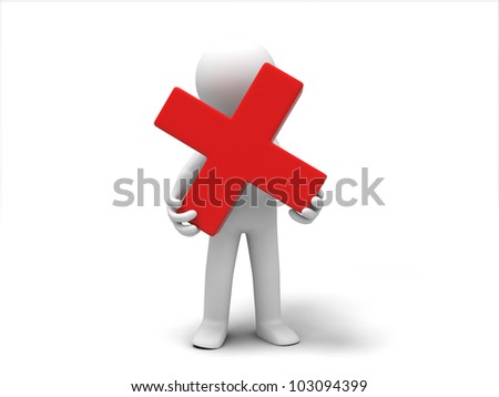 a Wrong Symbol/3d people was holding a Wrong Symbol - stock photo