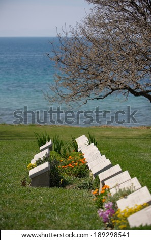 A WWI military cemetery called Beach, Gallipoli, Turkey - stock photo