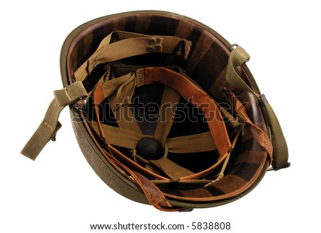 A WWII Era helmet isolated on a white background - stock photo