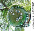 A 360x180 stereographic polar panorama with a young teenage man laying down on the grass in several different positions, with a tree inside of a circle. - stock photo
