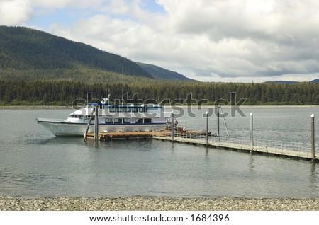 a yacht at a pier in Juneau, Alaska - stock photo