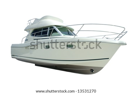 A yacht Isolated in white - stock photo