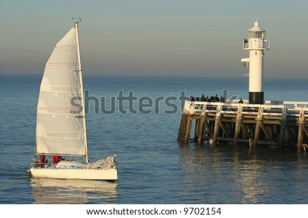 a yacht returning to its port. Picture taken in Belgium - stock photo