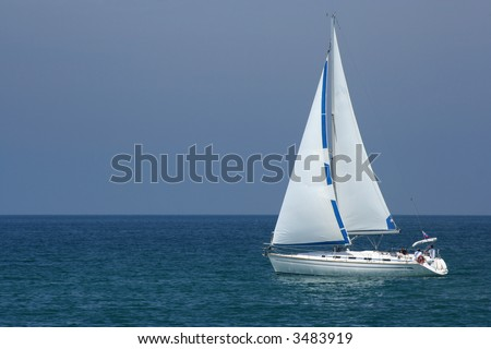 A yacht sailing the adriatic sea - stock photo
