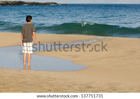 a 10 year old boy looks at the waves on the shore of D.T. Flemming Beach on the Island of Maui. - stock photo