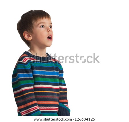 a 5 year old boy making a silly face,isolated on white background.Mothers day theme - stock photo