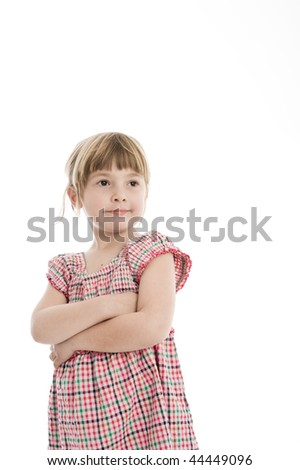 A 5 year old child, photographed in the studio.