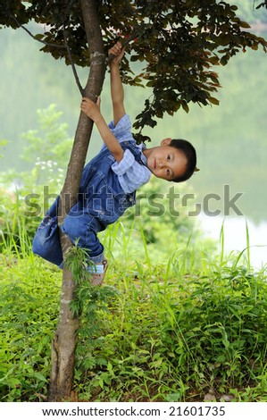 A 6 year old Chinese boy photographed around the countryside in Sankou, Anhui Province, East China.