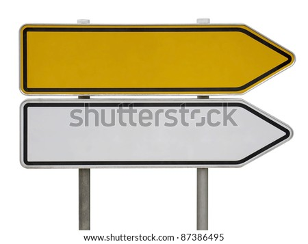 a yellow and a white blank direction sign post isolated on white - stock photo