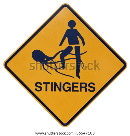 A yellow and black warning sign for dangerous marine stingers or jellyfish in tropical Australia. Isolated on white with clipping path - stock photo