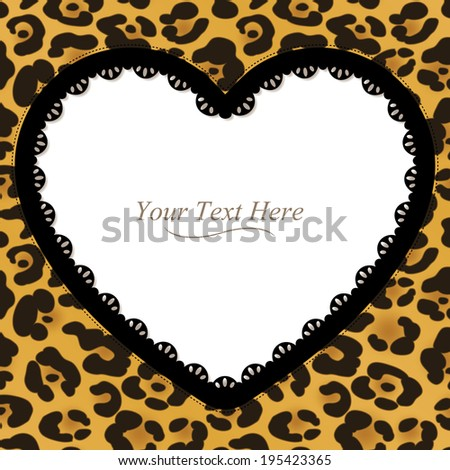A yellow and brown leopard spotted frame with a dark lace trim. Raster. - stock photo