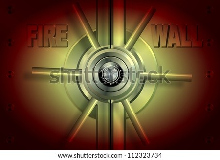 A yellow and red vault with a word firewall on it / Firewall