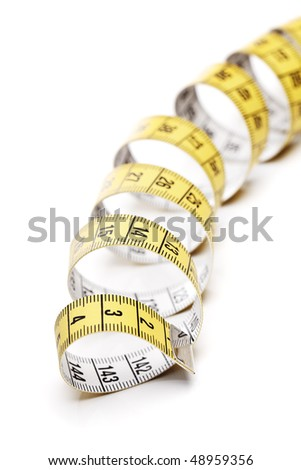 A yellow and white tape measure, metric system