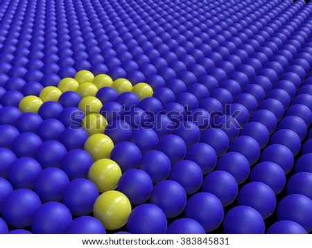 A Yellow Arrow of Spheres among a Crowd of Blue Spheres