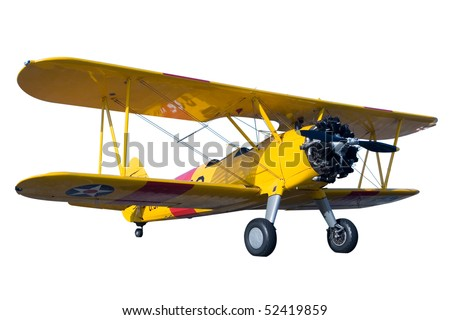 A yellow bi plane isolated on white - stock photo