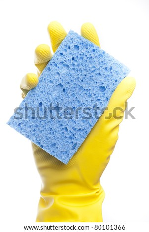 A yellow cleaning glove with a sponge against a white background